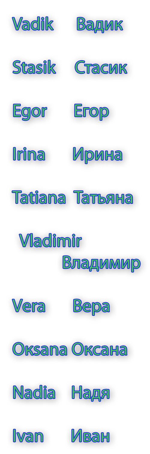 Female names russian women about